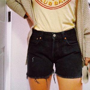 Vintage Levi's 501 cut off jean shorts black denim